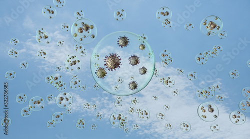 airborn virus floating aroud in droplets on blue sky background Wallpaper Mural