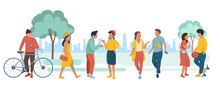 Young People In The Eco City Park. Vector Illustration