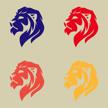 Lion Head Logo Set For Web, Ve...