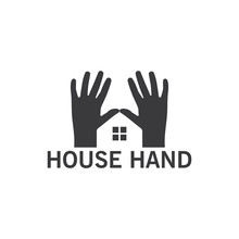 House Hand Logo Template Design