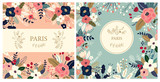 Fototapeta Fototapety Paryż - Beautiful collection of floral patterns. Holiday flower patterns for cards, invitations, package design