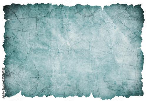 Fotografie, Obraz old blue torn blank treasure map isolated