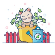 Cute Cat In Pot With Flowers O...