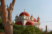 The Greek Orthodox Church Of The Holy Apostles Or The Church Of The Apostolic Church In The Center Of The Greek Orthodox Monastery In Capernaum Off The Coast Of The Sea Of Galilee In Israel