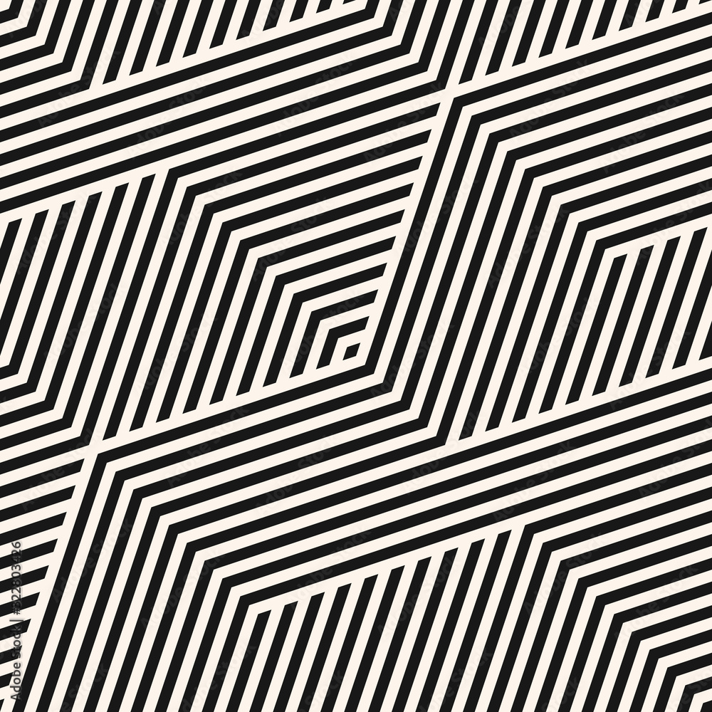 Fototapeta Geometric lines seamless pattern. Simple vector texture with diagonal stripes, lines, chevron, zigzag. Abstract black and white graphic background. Modern sport style linear ornament. Repeat design