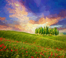 Colorful Evening Sunset With Famous Group Of Cypress Tress And Red Poppy Flowers On The Rolling Hills In Summer Time At Tuscany, Italy.- Oil Painting.
