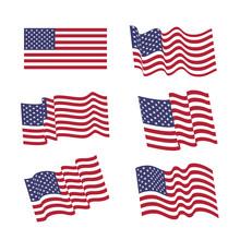 Set Of Six Wavy USA  Flags. Un...