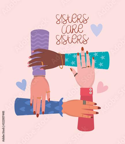 Fototapeta Hands and sisters care sisters of women empowerment vector design obraz