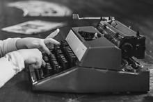 Vintage Old Typewriter On A Wo...