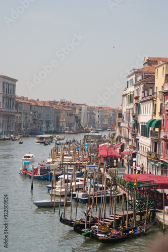 view of Venice showing the Grand Canal in the heart of the city, Venice, Italy Canvas Print