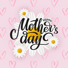 Vector Card, Poster Happy Mothers Day With White Spring Flowers And Hearts On Pink Background. Hand Written Typography Lettering. Banner For Mothers Day Special Offers, Shop Discount, Greeting.