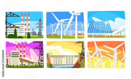 Fototapeta Traditional and Innovative Ecological Energy Generation Power Stations Collection, Wind Power Station, Solar Panels, Hydroelectric Power Station Vector Illustration obraz