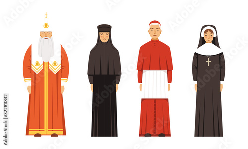 Fotografía Religion People Characters in Traditional Clothes Collection, Orthodox Patriarch