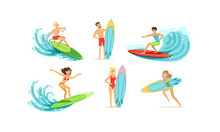 Surfing People Collection, Male And Female Surfers In Swimwear Riding Waves Vector Illustration