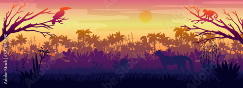 Fotografie, Obraz Amazonian landscape with palm trees silhouette, toucan, monkey, panther