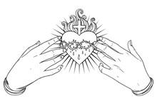 Open Praying Hands Around Sacr...