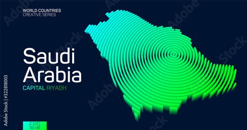 Photo Isometric map of Saudi Arabia with neon circle lines