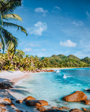 Mahe, Seychelles. Beautiful Anse Intendance Beach. Calm Ocean Waves Rolling Towards The Shore With Coconut Palm Trees