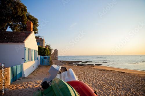 Fotomural Noirmoutier, plage, paysage, océan, mer, sable, maison, location, vent