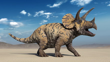 Triceratops, Dinosaur Reptile Roaring, Prehistoric Jurassic Animal In Deserted Nature Environment, 3D Illustration