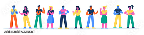 Fototapeta Horizontal banner with young men and women fighting, quarreling or arguing. Collection of couples having angry argument, disagreement, conflict or dispute. Modern flat cartoon vector illustration. obraz