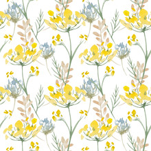 Seamless Pattern. Yellow Wildflowers. Background Banner.