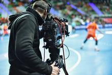 TV Camera And Cameraman During...