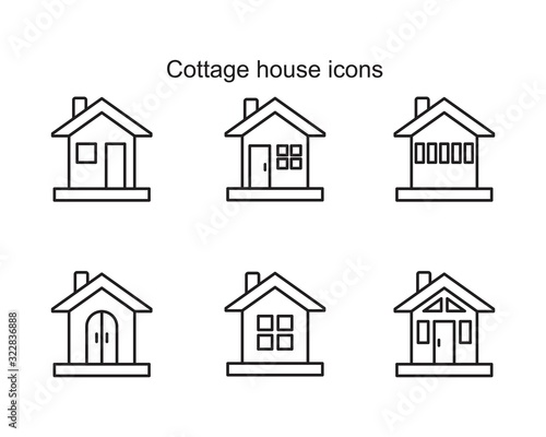 Collage house Icon template black color editable Canvas Print