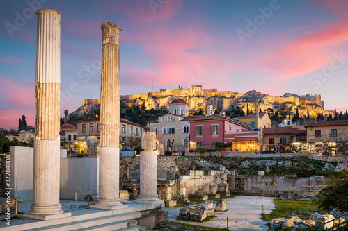 Hadrian's Library and Acropolis. Canvas Print