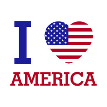 I Love AMERICA With Heart Flag...
