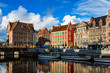 canvas print picture - Ghent canal and Graslei street. Ghent, Belgium