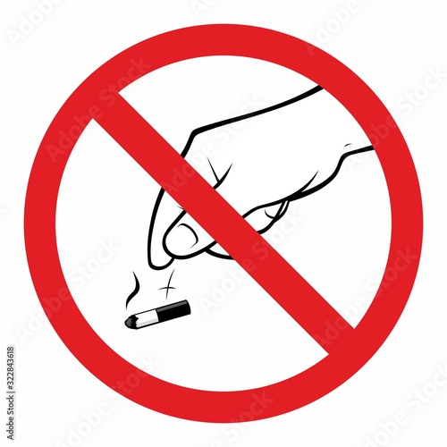 Cuadros en Lienzo Not allowed throwing cigarettes to the floor sign