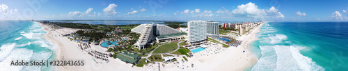 Fototapeta Cancun beach and Iberostar Selection Cancun Resort, Seadust Cancun Family Resort panorama aerial view, Cancun, Quintana Roo QR, Mexico. obraz