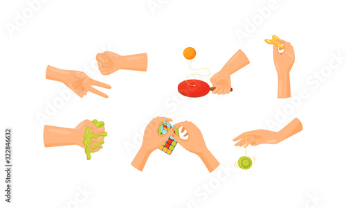 Human Hands Playing Different Games Like Hungarian Cube and Spinner Vector Set Canvas Print