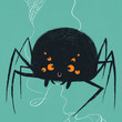 Cartoon Spider Arachnid with Googly Eyes and Spiderweb on Turquoise Teal Blue Background Childrens Kids Illustration