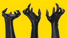 Grabbing Scary Clawed Hands, Black Frightening Zombie Hand Isolated On Yellow, Halloween Horror Concept. 3d Rendering