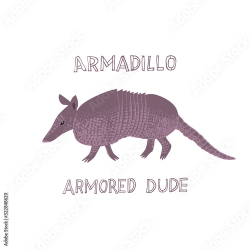 Photo Drawn armadillo with text Armadillo Armored Dude