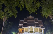 Night View Of Royal Imperial Palace Or Haw Kham In Luang Prabang, Laos.  It Was Built In 1904 During French Colonial Era For King Sisavang Vong And His Family