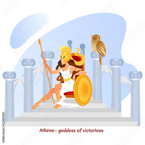 Fotografía Legendary Athena Olympian Greek Goddess of War in Ancient Greece Myths Sitting on Throne on Top of Marble Stairs with Pillars