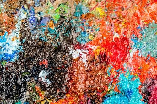 Fototapety, obrazy: Background image of bright oil-paint palette closeup.