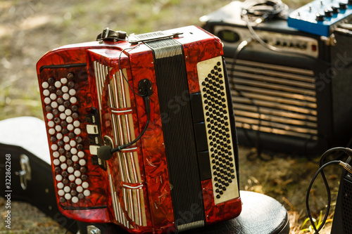 The old rare accordion buttons close up view. Low light photo. Canvas Print