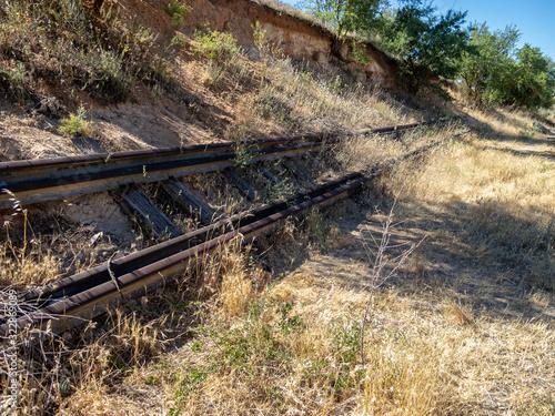 Abandoned rails in Arganda del Rey, Madrid, Spain Canvas Print
