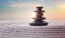 Zen-like Balanced Stones In Stack. Harmony And Meditation Concep