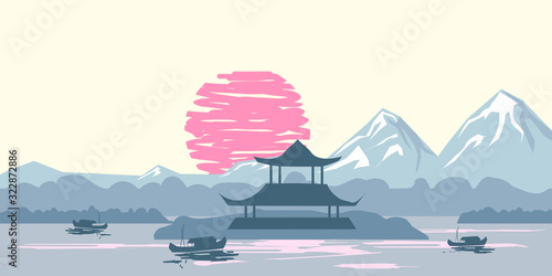 Fotografie, Obraz Chinese traditional or Japanese landscape, with pagoda and mountains, sunset sea
