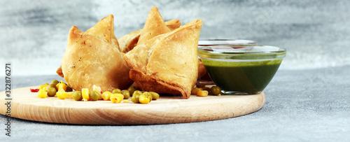 Fotografie, Obraz Vegetarian samsa or samosas