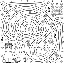 Black And White Maze Game And Coloring Page For Kids. Help The Unicorn