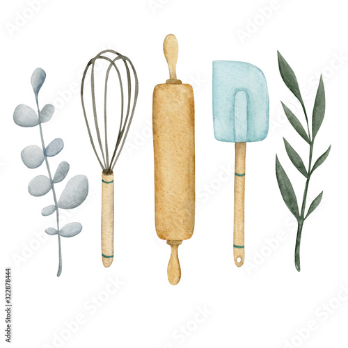 Fotomural Watercolor logo with rolling pin, whisk, pastry shovel and twigs, suitable for a