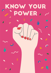 Drawing of fist with red nails. Women's hand as symbol of power and protest. Simple flat art. Text know your power. Design element for 8 March cards, posters, banners. Flat vector illustration