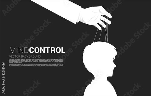 Hand Puppet Master controlling head of Silhouette of businessman Fototapet
