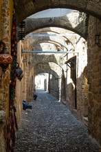 The Jewish Quarter In The Old Town Of Rhodes.  A Greek Island With The Oldest, Still Lived In, Medieval City In Europe.  The Jewish Quarter Has Little Tourism And Is Very Quiet.